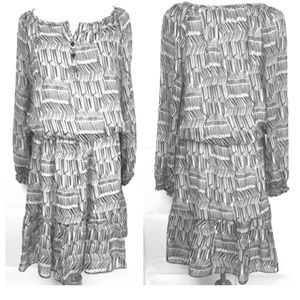 Shoshanna Scribble May Silk Dress Tiered Button